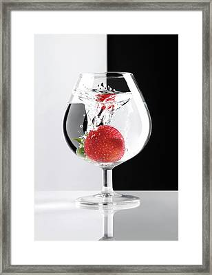 Strawberry In A Glass Framed Print by Oleksiy Maksymenko