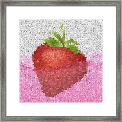 Strawberry In Juice Glass Mosaic Framed Print by Miroslav Nemecek