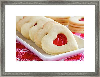 Framed Print featuring the photograph Strawberry Jam Filled Heart Cookies by Teri Virbickis