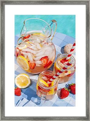 Strawberry Lemonade At Pool Side Framed Print by Elena Elisseeva