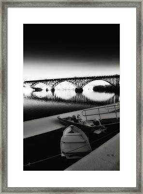 Strawberry Mansion Bridge In Winter Framed Print by Bill Cannon