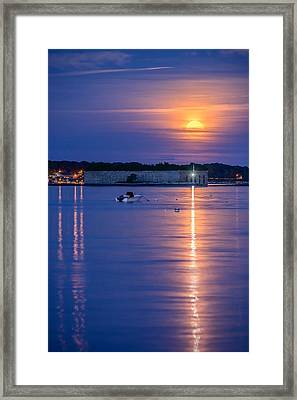 Strawberry Moon Over Fort Gorges II Framed Print