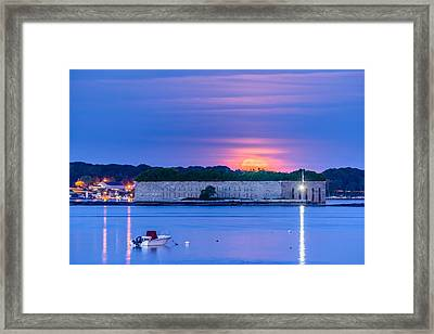 Strawberry Moon Over Fort Gorges Framed Print