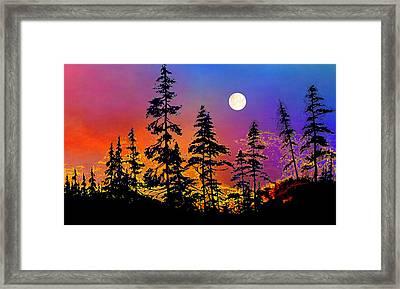 Strawberry Moon Sunset Framed Print by Hanne Lore Koehler
