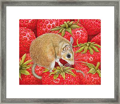 Strawberry Mouse Framed Print by Ditz