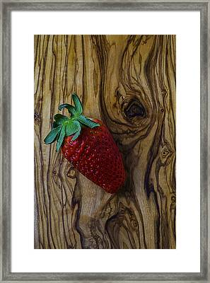 Strawberry On Wood Grain Board Framed Print