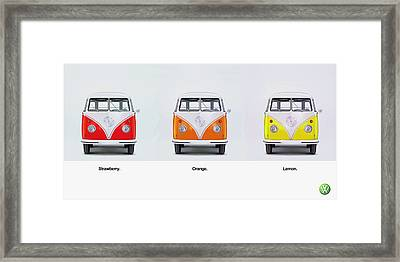 Strawberry. Orange. Lemon. Framed Print by Mark Rogan
