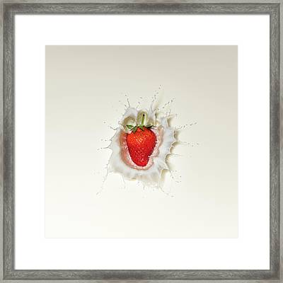 Strawberry Splash In Milk Framed Print