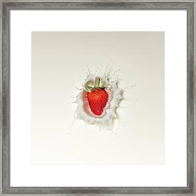 Strawberry Splash In Milk Framed Print