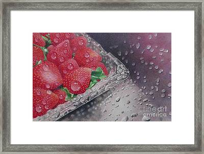 Strawberry Splash Framed Print by Pamela Clements