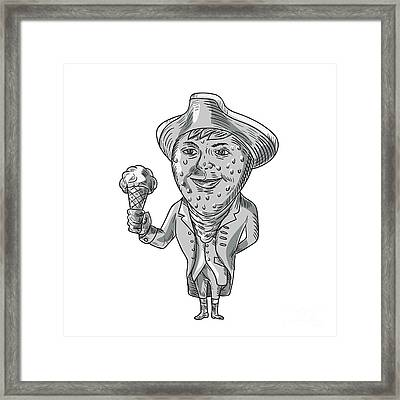 Strawberry Tricorn Hat Ice Cream Black And White Drawing Framed Print by Aloysius Patrimonio