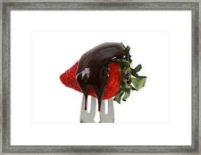Strawberry With Chocolate Sauce On A Fork Framed Print by Michael Ledray