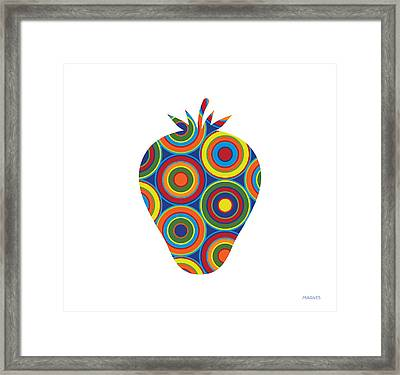 Strawberry With Circles On White Framed Print
