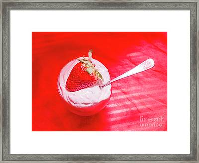 Strawberry Yogurt In Round Bowl With Spoon Framed Print