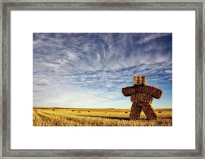 Strawman On The Prairies Framed Print