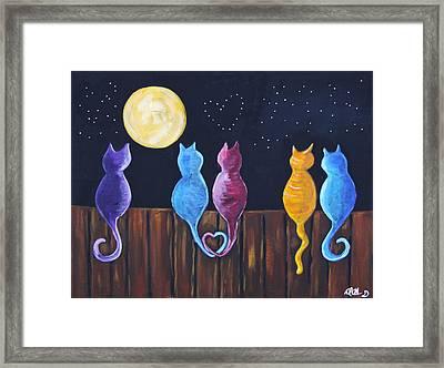 Stray Cats In Moonlight Framed Print