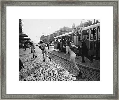 Streakers In Munich, Germany, 1974 Framed Print