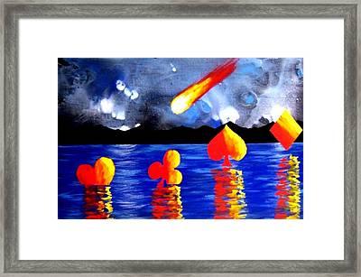 Streaking Comet Poker Art Framed Print by Teo Alfonso