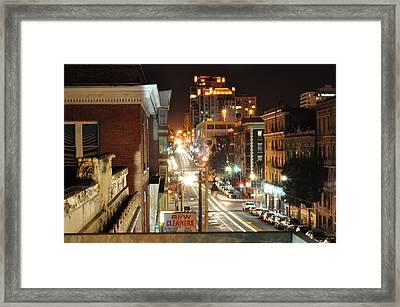 Streaks Of San Francisco Framed Print by Greg McDonald