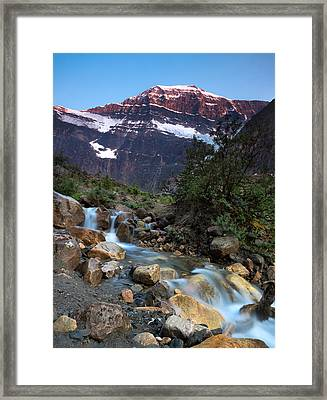 Stream And Mt. Edith Cavell At Sunset Framed Print by Cale Best