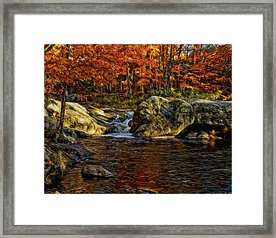 Stream In Autumn 57 In Oil Framed Print by Mark Myhaver
