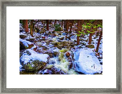 Stream In Snow Covered Woods Framed Print