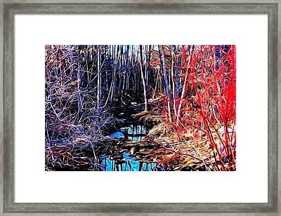 Stream Red And Blue Framed Print