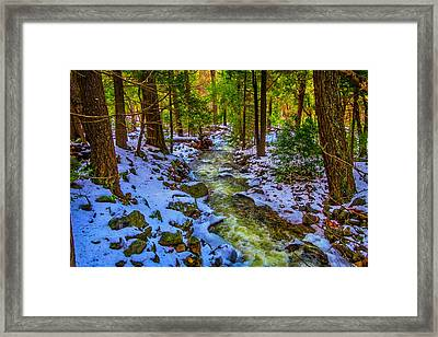 Stream Through Snowy Forest Framed Print by Garry Gay