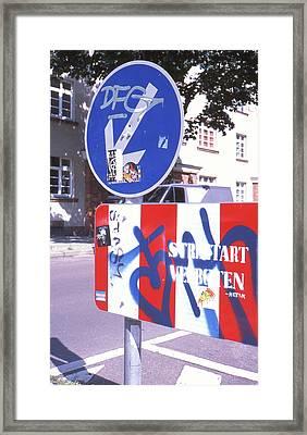 Street Art In Street Sign Framed Print
