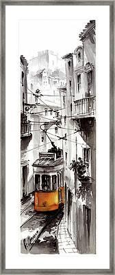 Street At Graca Lisbon Tram Framed Print
