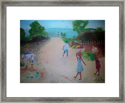 Framed Print featuring the painting Street Dawn Activities by Nicole Jean-Louis