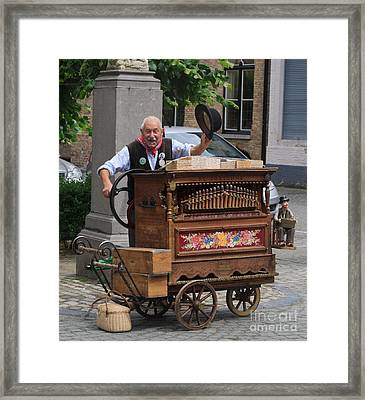 Street Entertainer In Bruges Belgium Framed Print by Louise Heusinkveld