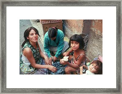 Framed Print featuring the photograph Street Family Santiago Chile by Douglas Pike