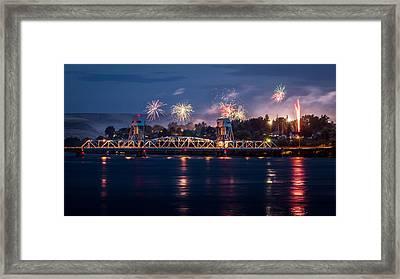 Street Fireworks By The Blue Bridge Framed Print