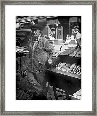 Street Fish Vendor Framed Print by Underwood Archives
