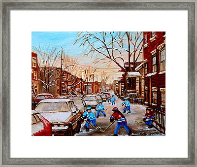 Street Hockey On Jeanne Mance Framed Print by Carole Spandau