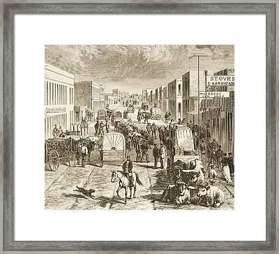 Street In Denver Colorado In 1870s Framed Print