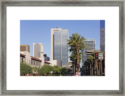 Street In Phoenix With Chase Building In Background Framed Print by Jeremy Woodhouse