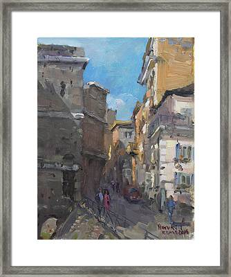 Street In Rome Framed Print by Ylli Haruni