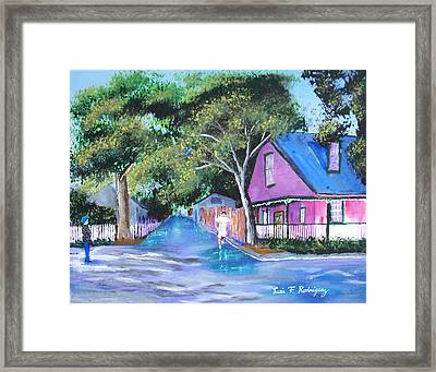 Street In St Augustine Framed Print by Luis F Rodriguez
