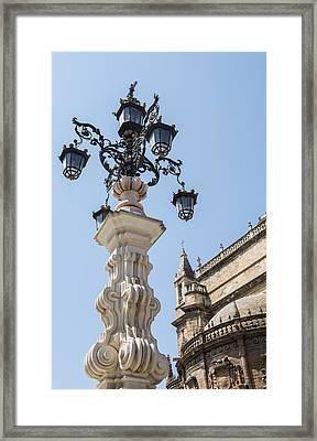 Street Lamp - Cathedral Of Seville - Seville Spain Framed Print