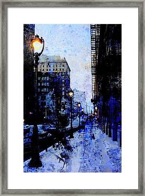Street Lamps Sidewalk Abstract Framed Print by Anita Burgermeister