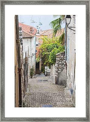 Street Leading To Sea In Villefranche-sur-mer Framed Print