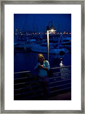 Street Light Texting Framed Print by Tom Dowd