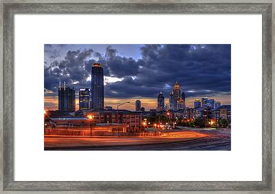 Street Lights At Atlantic Station Sunrise Framed Print