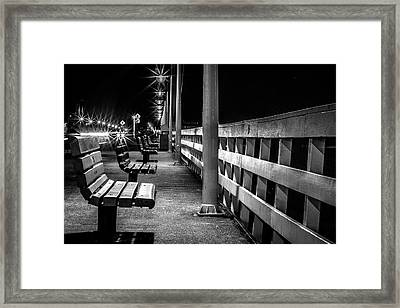 Santa Cruz Wharf At Night Framed Print
