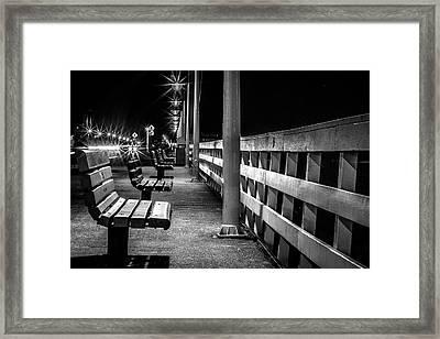 Santa Cruz Wharf At Night Framed Print