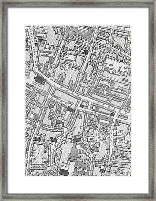 Street Map Of London Around Guildhall Framed Print by Richard Horwood