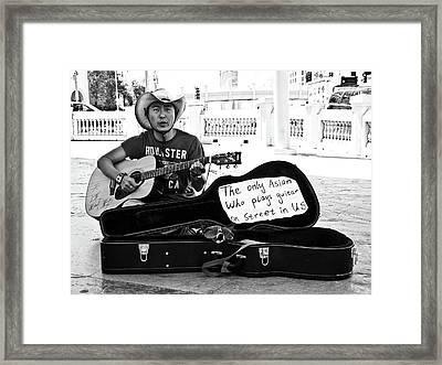 Street Musician And Dog Framed Print by Julie Niemela