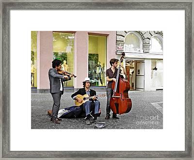 Street Musicians In Mainz Framed Print by Sarah Loft